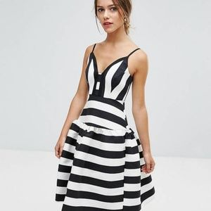 ASOS Petite Striped B/W Fit & Flare Party Dress